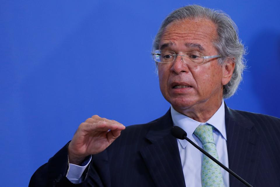 Brazil's Economy Minister Paulo Guedes speaks during a ceremony to launch a program to expand access to credit at the Planalto Palace in Brasilia, Brazil, August 19, 2020. REUTERS/Adriano Machado