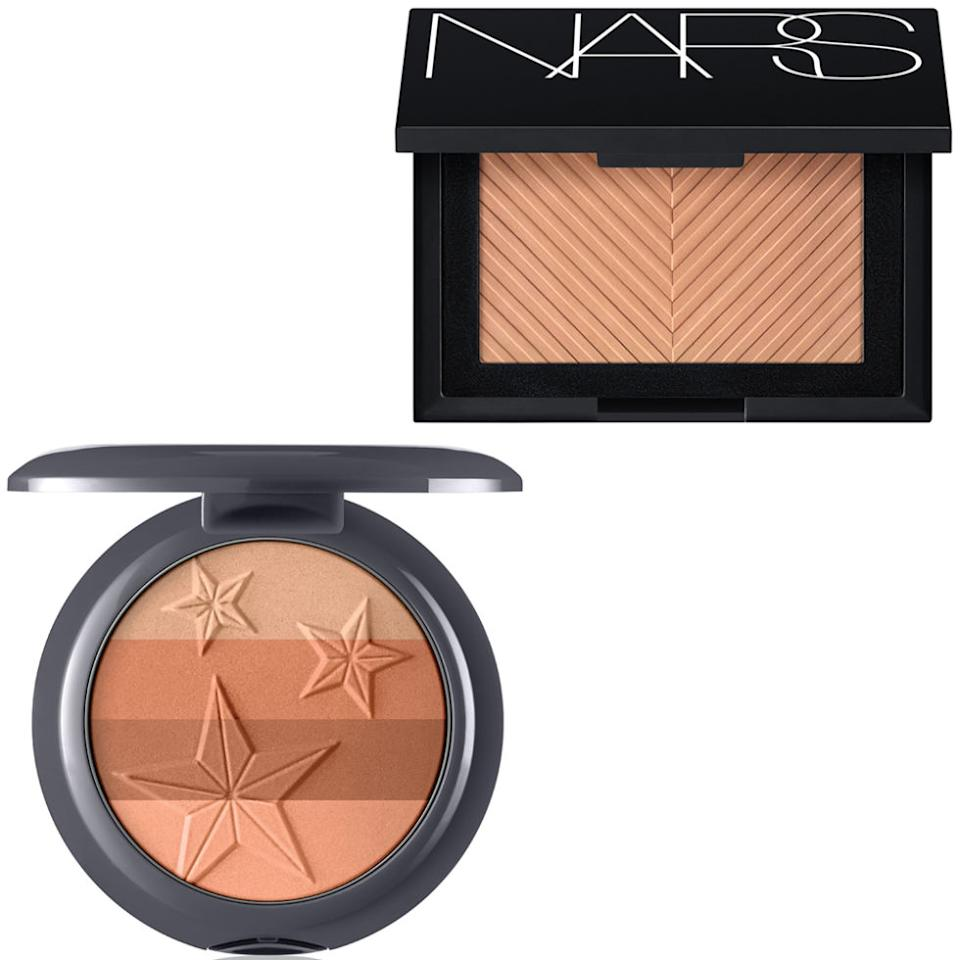 """<p>Sheer pigments blur imperfections and warm the skin without masking it.</p><p><strong>Nars </strong>Sun Wash Diffusing Bronzer in Seaside, $40, <a rel=""""nofollow"""" href=""""http://www.barneys.com/product/nars-sun-wash-diffusing-bronzer-505125595.html"""">barneys.com</a>.</p><p>These silky colors easily glide onto skin for a long-lasting glow.</p><p><strong>Almay</strong>Smart Shade Bronzer in Sunkissed, $12, <a rel=""""nofollow"""" href=""""http://www.almay.com/products/face/blush/smart-shade-bronzer.aspx"""">almay.com</a>.</p>"""
