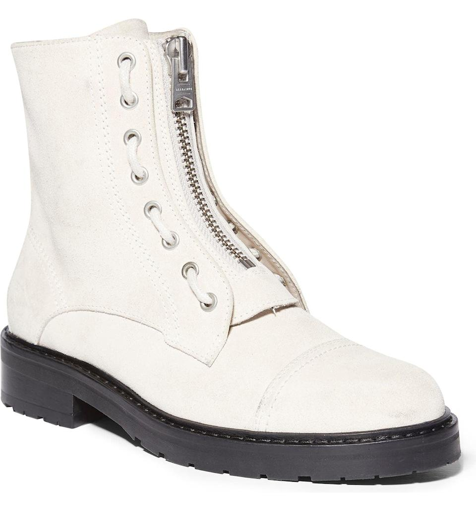 <p>This <span>Allsaints Ariel Top Zip Boot</span> ($348) makes a serious case for wearing white after Labor Day. It will seamlessly match with your midi dresses, slip skirt or go-to denim jeans and tank top ensembles.</p>
