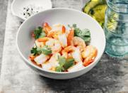 "<p>Serve 4 ounces <a href=""https://www.goodhousekeeping.com/food-recipes/healthy/g572/healthy-shrimp-recipes/"" rel=""nofollow noopener"" target=""_blank"" data-ylk=""slk:steamed shrimp"" class=""link rapid-noclick-resp"">steamed shrimp</a> with 1 baked potato topped with 3 tablespoons salsa and 1 tablespoon unsweetened Greek yogurt, plus 3 cups spinach, steamed. Finish the meal off with 1 ounce of chocolate or a 100- to 150-calorie <a href=""https://www.goodhousekeeping.com/food-products/ice-cream-reviews/g22607515/healthy-ice-creams/"" rel=""nofollow noopener"" target=""_blank"" data-ylk=""slk:ice cream bar"" class=""link rapid-noclick-resp"">ice cream bar</a>.</p>"