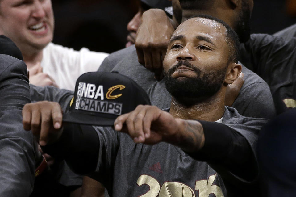 FILE - In this June 19, 2016, file photo, Cleveland Cavaliers guard Mo Williams celebrates after Game 7 of basketball's NBA Finals between the Golden State Warriors and the Cavaliers in Oakland, Calif. Williams played in the All-Star Game and now coaches at Alabama State. Historically Black institutions like Alabama State will be a focus of Sunday's NBA All-Star Game in Atlanta. (AP Photo/Marcio Jose Sanchez, File)