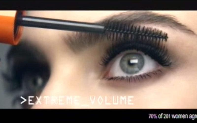 A Rimmel mascara ad featuring the model Cara Delevingne which has been banned for using production techniques that exaggerated the effect of the make-up - PA
