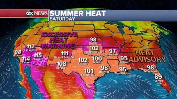 PHOTO: Widespread summer heat alerts are in effect for nearly the entire southern U.S. from California to Florida. It will be very hot in the Southwest this weekend. (ABC News)