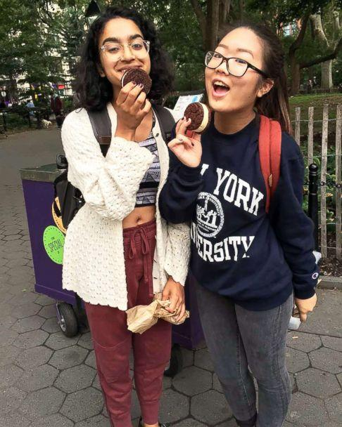 PHOTO: First generation college student Annette Kaminaka (right) and a friend explore the campus around New York University. (Courtesy Annette Kaminaka )