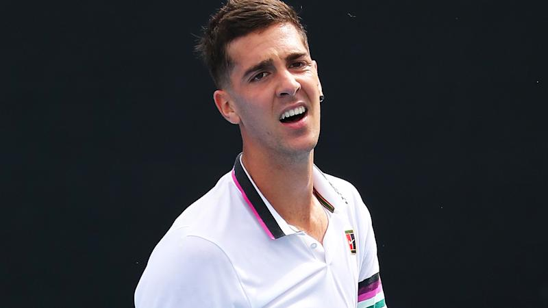 A shoulder injury ruled Thanasi Kokkinakis, pictured, to withdraw from his second round match against Rafael Nadal at the US Open.