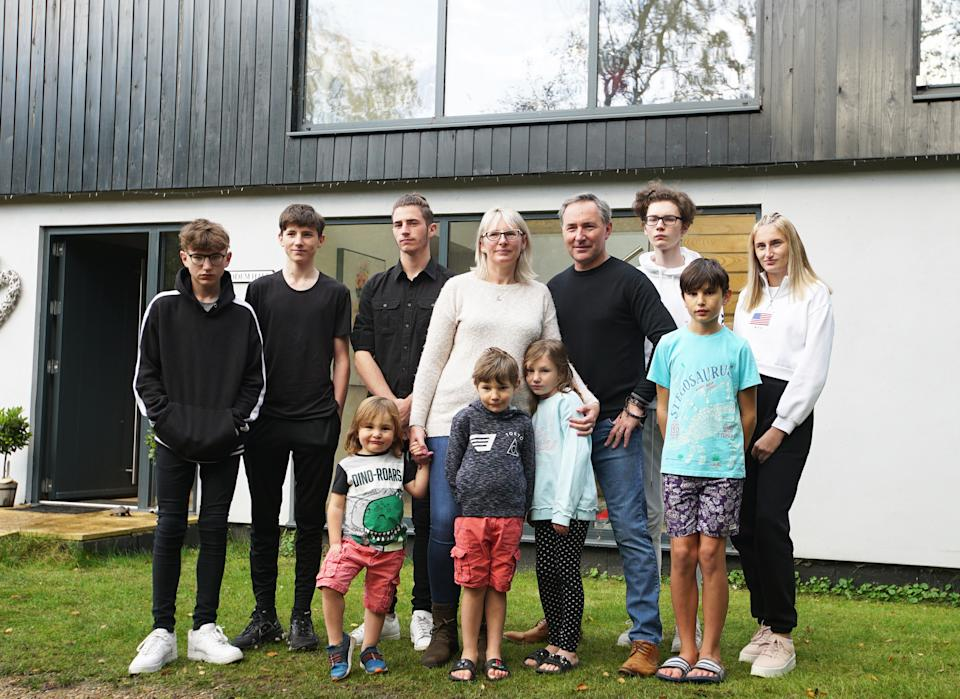 The Seymour Family from Suffolk: Mum Frances and Dad Layden with their nine children . (ITV)