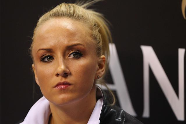 ST. LOUIS, MO - JUNE 8: Nastia Luikin looks on during the Senior Women's competition on day two of the Visa Championships at Chaifetz Arena on June 8, 2012 in St. Louis, Missouri. (Photo by Dilip Vishwanat/Getty Images)
