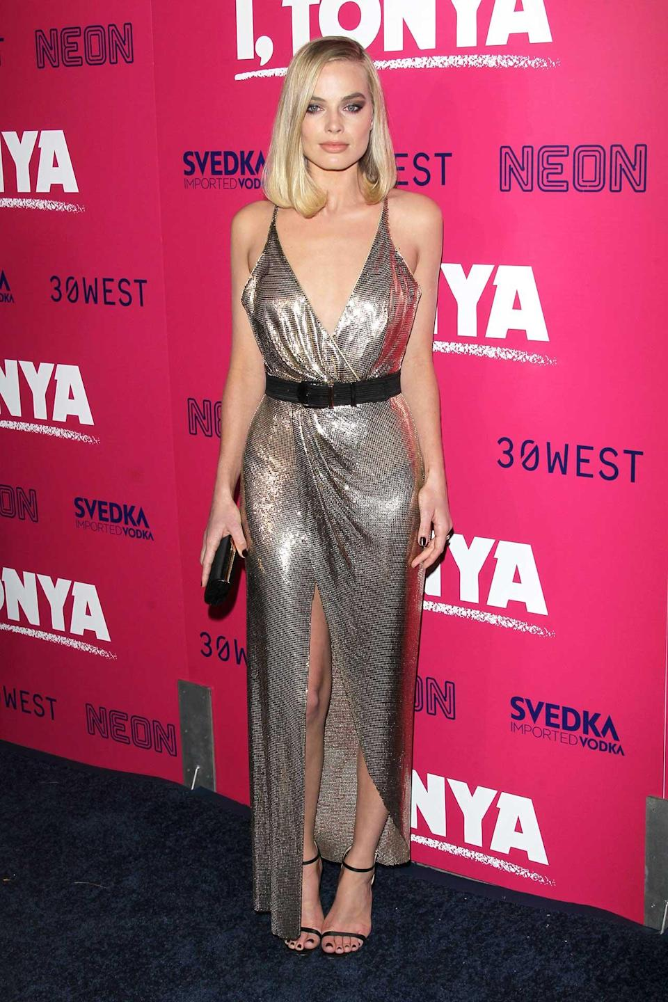 """<h2>Margot Robbie in Versace</h2> <h4>Getty Images</h4> <p> <strong>Related Articles</strong> <ul> <li><a rel=""""nofollow noopener"""" href=""""http://thezoereport.com/fashion/style-tips/box-of-style-ways-to-wear-cape-trend/?utm_source=yahoo&utm_medium=syndication"""" target=""""_blank"""" data-ylk=""""slk:The Key Styling Piece Your Wardrobe Needs"""" class=""""link rapid-noclick-resp"""">The Key Styling Piece Your Wardrobe Needs</a></li><li><a rel=""""nofollow noopener"""" href=""""http://thezoereport.com/living/wellness/6-easy-things-sunday-will-improve-week/?utm_source=yahoo&utm_medium=syndication"""" target=""""_blank"""" data-ylk=""""slk:6 Easy Things To Do On Sunday That Will Improve Your Week"""" class=""""link rapid-noclick-resp"""">6 Easy Things To Do On Sunday That Will Improve Your Week</a></li><li><a rel=""""nofollow noopener"""" href=""""http://thezoereport.com/beauty/makeup/draw-perfect-cat-eye/?utm_source=yahoo&utm_medium=syndication"""" target=""""_blank"""" data-ylk=""""slk:How To Draw The Perfect Cat Eye"""" class=""""link rapid-noclick-resp"""">How To Draw The Perfect Cat Eye</a></li> </ul> </p>"""