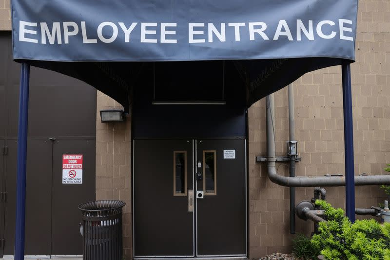 The employee entrance of a Hyatt hotel is unused while the hotel is completely closed to guests during the coronavirus disease (COVID-19) outbreak, in Washington