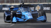 Jimmie Johnson practices for the IndyCar Detroit Grand Prix auto racing doubleheader on Belle Isle in Detroit, Friday, June 11, 2021. (AP Photo/Paul Sancya)
