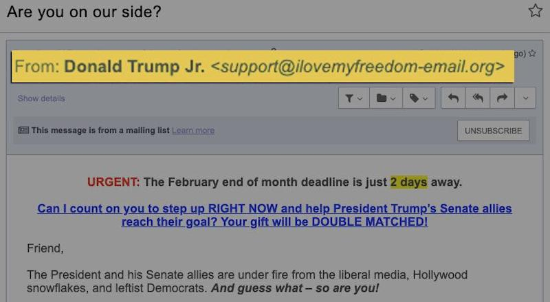 (Photo: I Love My Freedom (email details magnified by HuffPost))