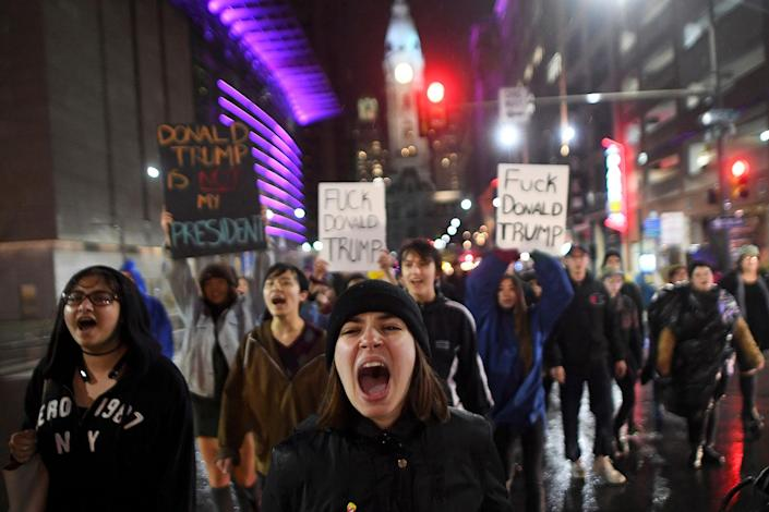<p>Samantha Conors, 24, marches with demonstrators to protest against Republican Donald Trump's victory in Tuesday's U.S. presidential election in Philadelphia, Pennsylvania, U.S. November 9, 2016. (REUTERS/Mark Makel) </p>