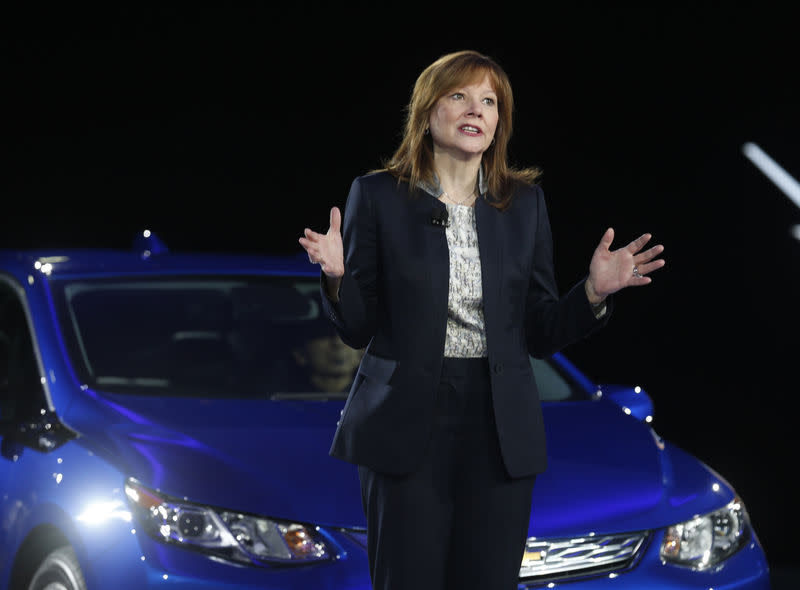 General Motors CEO Mary Barra speaks next to the 2016 Chevrolet Volt hybrid during the first press preview day of the North American International Auto Show in Detroit