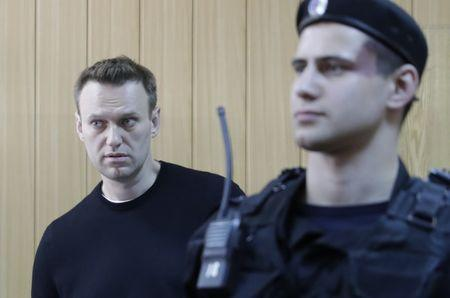 Russian opposition leader Navalny attends hearing after being detained at protest against corruption and demanding resignation of PM Medvedev, at Tverskoi court in Moscow