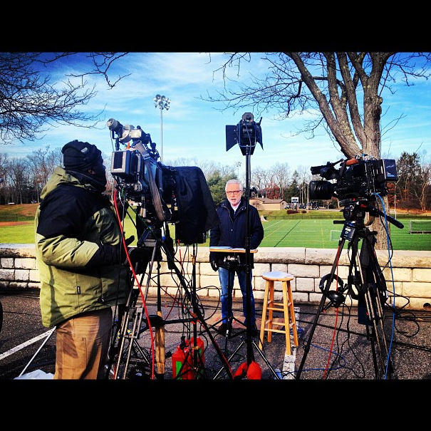 Wolf Blitzer, 11:45 a.m., Newtown, Connecticut. (Dylan Stableford/Yahoo! News)