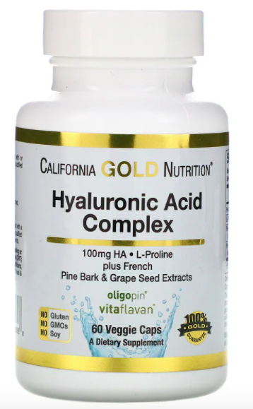 California Gold Nutrition, Hyaluronic Acid Complex, 60 Veggie Capsules, SG$23.94. PHOTO: iHerb