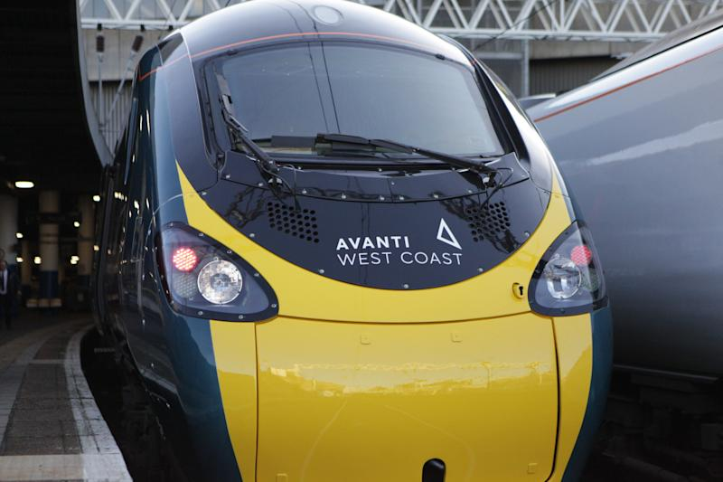 The front of an Avanti West Coast train showing the new logo as it waits to depart from London's Euston Station for its inaugural journey along the West Coast Main Line (WCML). (Photo by Luciana Guerra/PA Images via Getty Images)