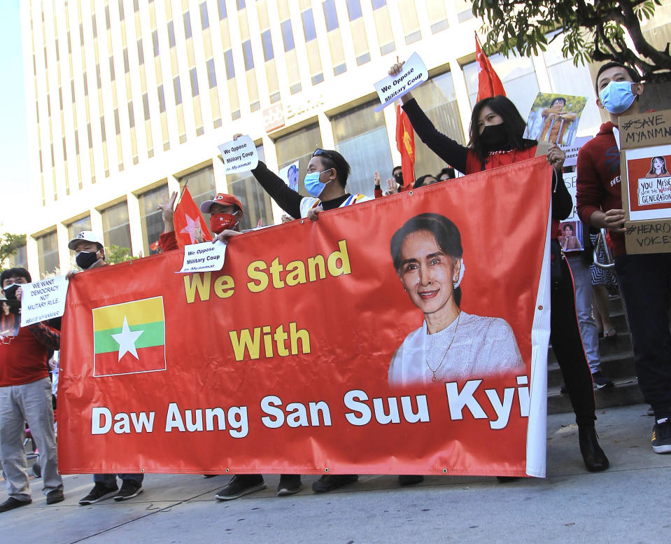Photo by: gotpap/STAR MAX/IPx 2021 2/6/21 Myanmar Rally in Los Angeles, CA.