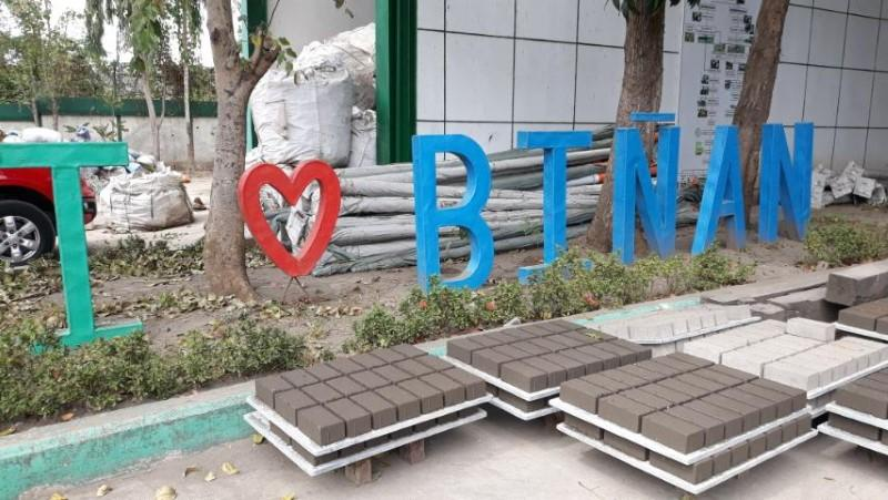 Bricks made of volcanic ash are laid out outside a brick-making facility in Binan, Laguna