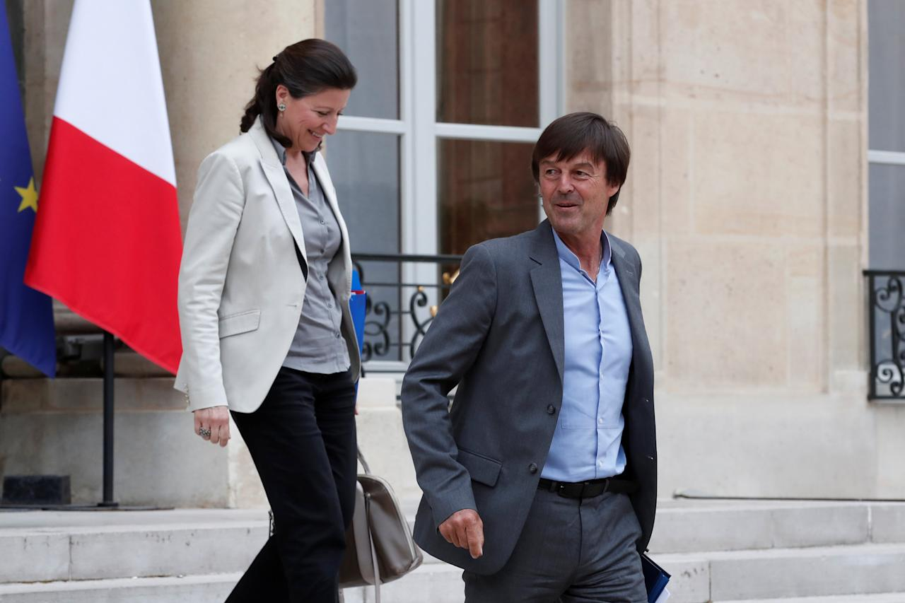 French Health and Solidarity Minister Agnes Buzyn and French Minister of the Ecological and Social Transition Nicolas Hulot (R) leave the Elysee Palace after a weekly cabinet meeting in Paris, France, May 24, 2017. REUTERS/Benoit Tessier