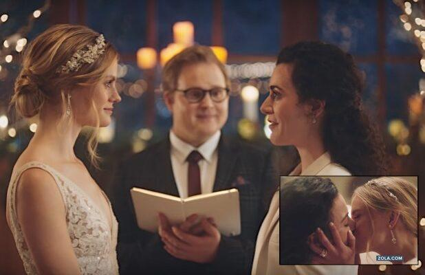 Zola Cuts Ties With Hallmark Channel After Ads of Lesbian Brides Kissing Are Pulled