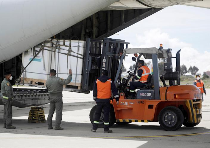 Image: China's Sinopharm vaccine arriving in La Paz, Bolivia, in February. (David Mercado / Reuters file)