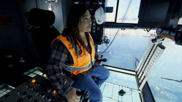 PHOTO: Maria Adame is one of few women working as a longshoreman for the Port of Long Beach and Port of Los Angeles in California. (ABC News)