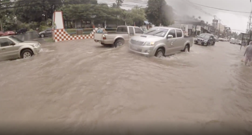 Flooding inundated streets of Koh Samui, Thailand in December 2016.