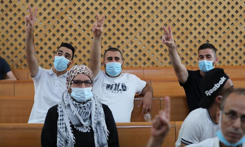 Palestinian residents of the East Jerusalem neighbourhood of Sheikh Jarrah attend a discussion at the Israeli supreme court
