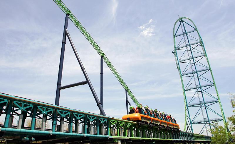 FILE - In this May 19, 2005, file photograph, Six Flags Great Adventure's roller coaster, Kingda Ka, sends people flying skywards in Jackson, N.J. A boy is recovering after he was hit in the face by a bird Thursday, July 26, 2012, while riding the roller coaster at Six Flags Great Adventure in New Jersey. (AP Photo/Tim Larsen, File)