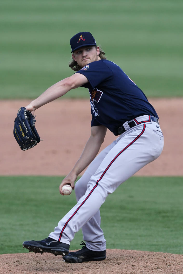 Atlanta Braves starting pitcher Mike Soroka (40) works in the seventh inning of a spring training baseball game against the Boston Red Sox Tuesday, March 30, 2021, in Fort Myers, Fla. Soroka was making his first appearance of the spring after tearing his Achilles tendon last August. (AP Photo/John Bazemore)