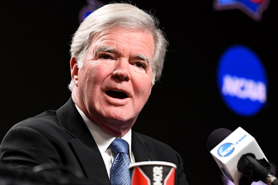 MINNEAPOLIS, MINNESOTA - APRIL 04: President of the National Collegiate Athletic Association Mark Emmert speaks to the media ahead of the Men's Final Four at U.S. Bank Stadium on April 04, 2019 in Minneapolis, Minnesota. (Photo by Brett Wilhelm/NCAA Photos via Getty Images )