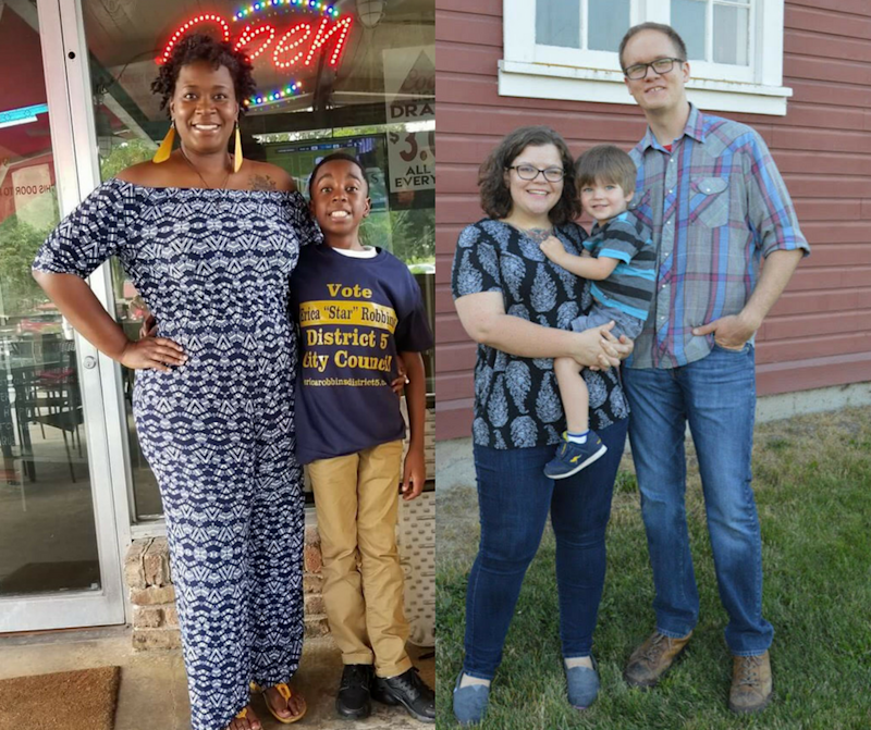 Erica Robbins (left), with her son, and Kate Hansen (right), with her son and husband. (Courtesy of Erica Robbins and Kate Hansen)