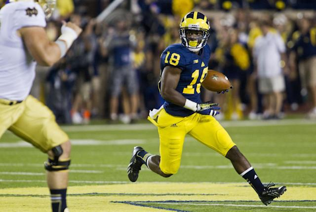 Michigan defensive back Blake Countess (18) intercepts a Notre Dame pass in the second quarter of an NCAA college football game, in Ann Arbor, Mich., Saturday, Sept. 7, 2013. (AP Photo/Tony Ding)