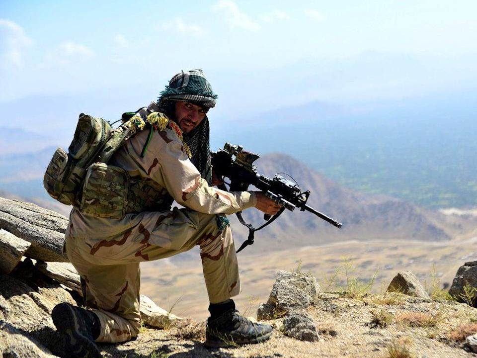 An Afghan resistance fighter takes position in the Panjshir Valley earlier this week (AFP/Getty)