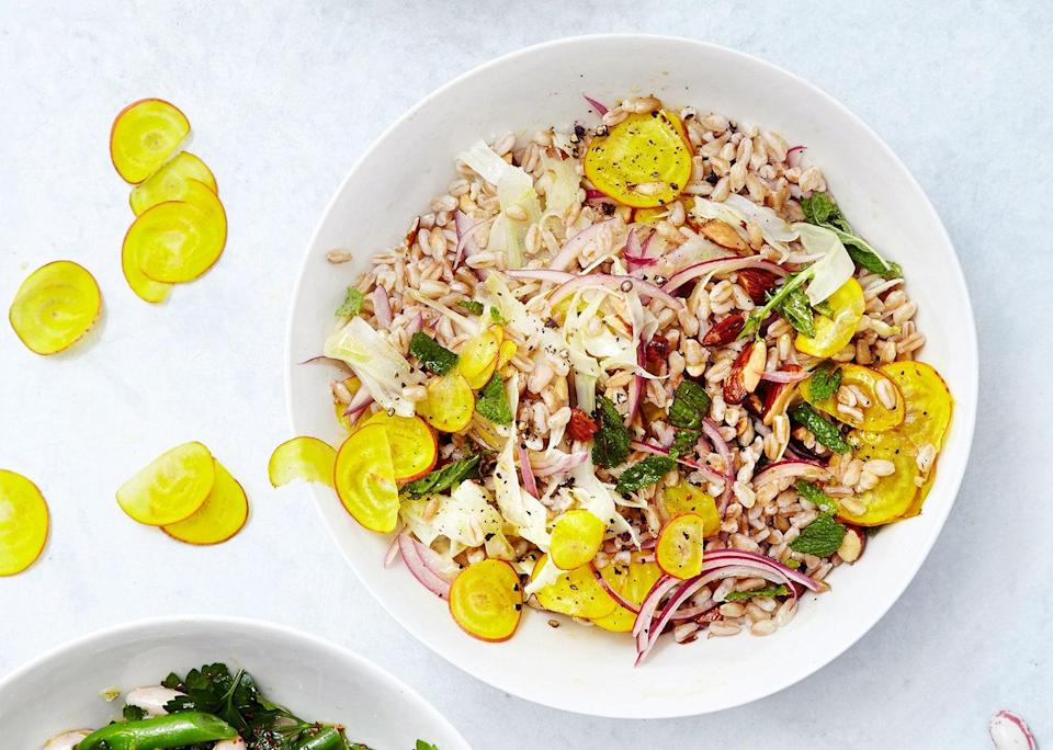 """Crunchy, bright, and hearty in all the right places, this salad just earned its spot in your weekly meal rotation. We're sure of that. <a href=""""https://www.bonappetit.com/recipe/barley-fennel-and-beet-salad?mbid=synd_yahoo_rss"""" rel=""""nofollow noopener"""" target=""""_blank"""" data-ylk=""""slk:See recipe."""" class=""""link rapid-noclick-resp"""">See recipe.</a>"""