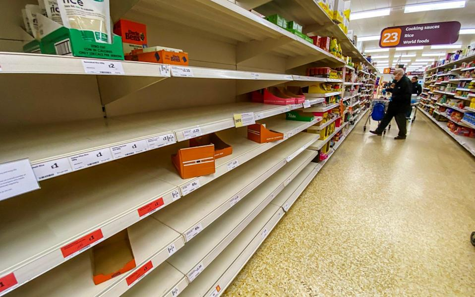 Supermarket shelves were empty amid a surge of panic buying in March - Paul Grover for the Telegraph