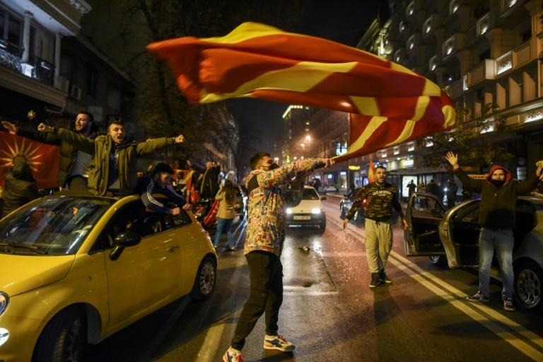 North Macedonia supporters poured into the streets of Skopje to celebrate after the Balkan nation qualified for the European football championships for the first time