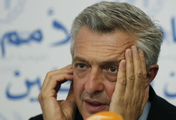 Filippo Grandi UN High Commissioner for Refugees, Listens to a journalist question during a press conference, in Beirut, Lebanon, Friday, Aug. 31, 2018. Grandi says a potential military offensive in the last rebel stronghold in Syria threatens to cause fresh displacement as well as discouraging refugees against returning home. (AP Photo/Hussein Malla)