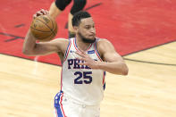 FILE- In this May 3, 2021, file photo, Philadelphia 76ers' Ben Simmons looks to pass during the second half of an NBA basketball game against the Chicago Bulls in Chicago. Simmons will not report to Philadelphia 76ers' training camp week and prefers to continue his NBA career with another team, a person with direct knowledge of the players plans told The Associated Press on Tuesday, Sept. 21, 2021. The person spoke on the condition of anonymity because discussions of Simmons' plans with the franchise have been private. (AP Photo/Charles Rex Arbogast, File)