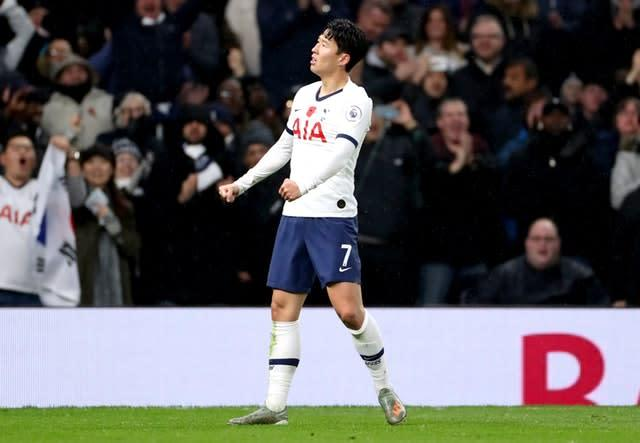 Son Heung-min celebrates the opener (Bradley Collyer/PA)