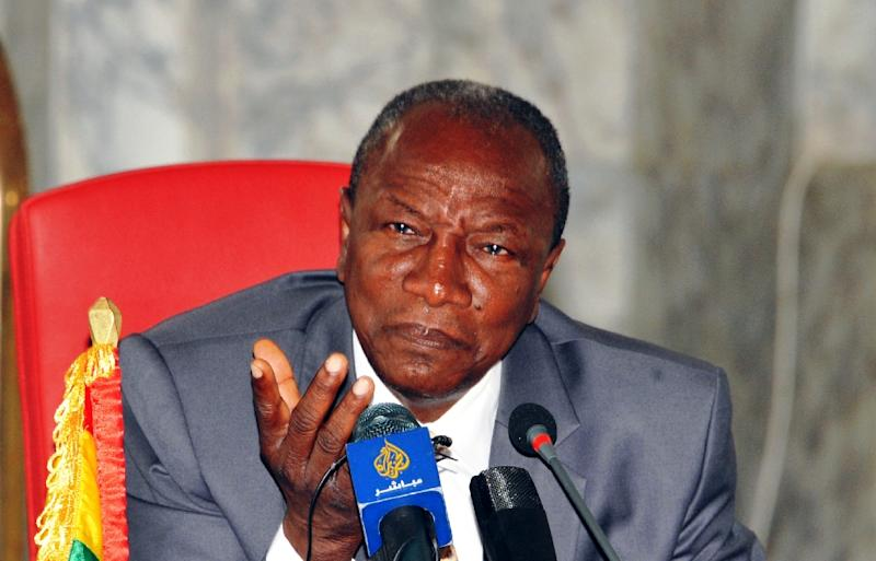 Guinea's President Alpha Conde gestures during a press conference on August 27, 2015 at the presidential palace in Conakry