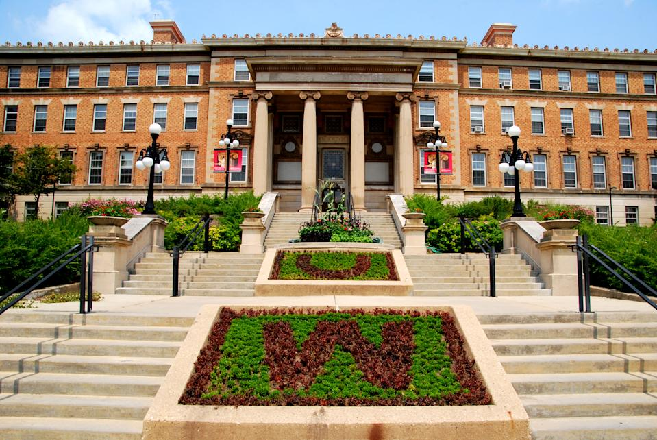 Madison, WI, USA - July 20, 2014: The beautiful entrance to the agriculture building at the University of Wisconsin, Madison Campus.