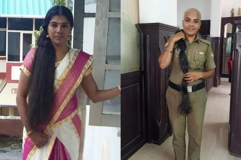 This Kerala Cop Let Go Of Her 'Rapunzel' Hair For Cancer Patients
