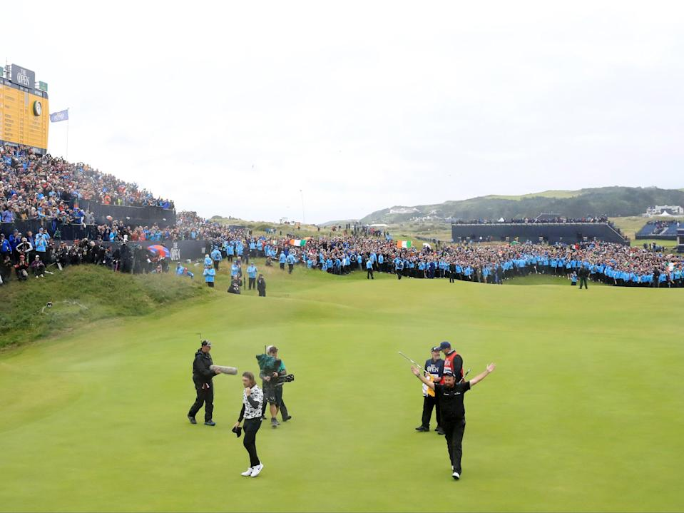 Shane Lowry of Ireland celebrates at Royal Portrush during the 148th Open Championship (Getty)