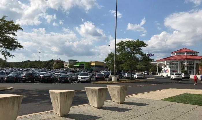 A busy mall parking lot.
