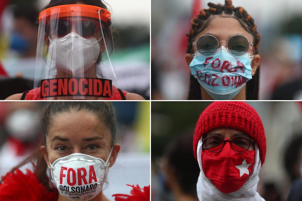 Masked protesters in Rio de Janeiro turn their ire on  their country's president (REUTERS)