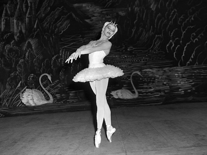 """FILE - This Sept. 14, 1953 file photo shows Maria Tallchief, prima ballerina of the New York City Ballet, in Tschaikowsky's """"Swan Lake"""" during the opening performance of the company's engagement at the Scala Theater in Milan, Italy. Tallchief died died Thursday, April 11, 2013, in Chicago at the age of 88. Tallchief joined the company that would become the New York City Ballet in 1948. She was married for a time to George Balanchine, who founded the School of American Ballet in New York. Tallchief worked with Balanchine on such masterpieces as 1949's """"Firebird"""" and his now-historic version of """"The Nutcracker."""" (AP Photo, file)"""