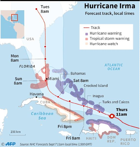 Updated forecast track of Hurricane Irma, close-up on the Caribbean. (AFP Photo/Sophie RAMIS)