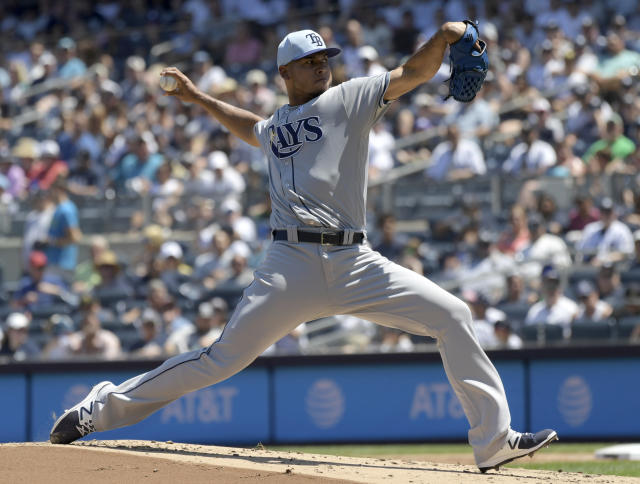 Tampa Bay Rays pitcher Wilmer Font delivers the ball to the New York Yankees during the first inning of a baseball game Sunday, June 17, 2018, at Yankee Stadium in New York. (AP Photo/Bill Kostroun)